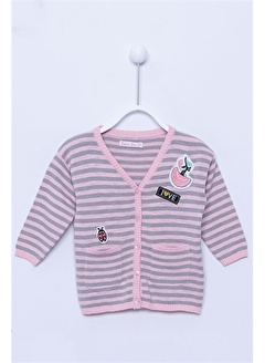 Silversun Kids Çizgili Cepli Bebek Kız Triko Hırka T-112537